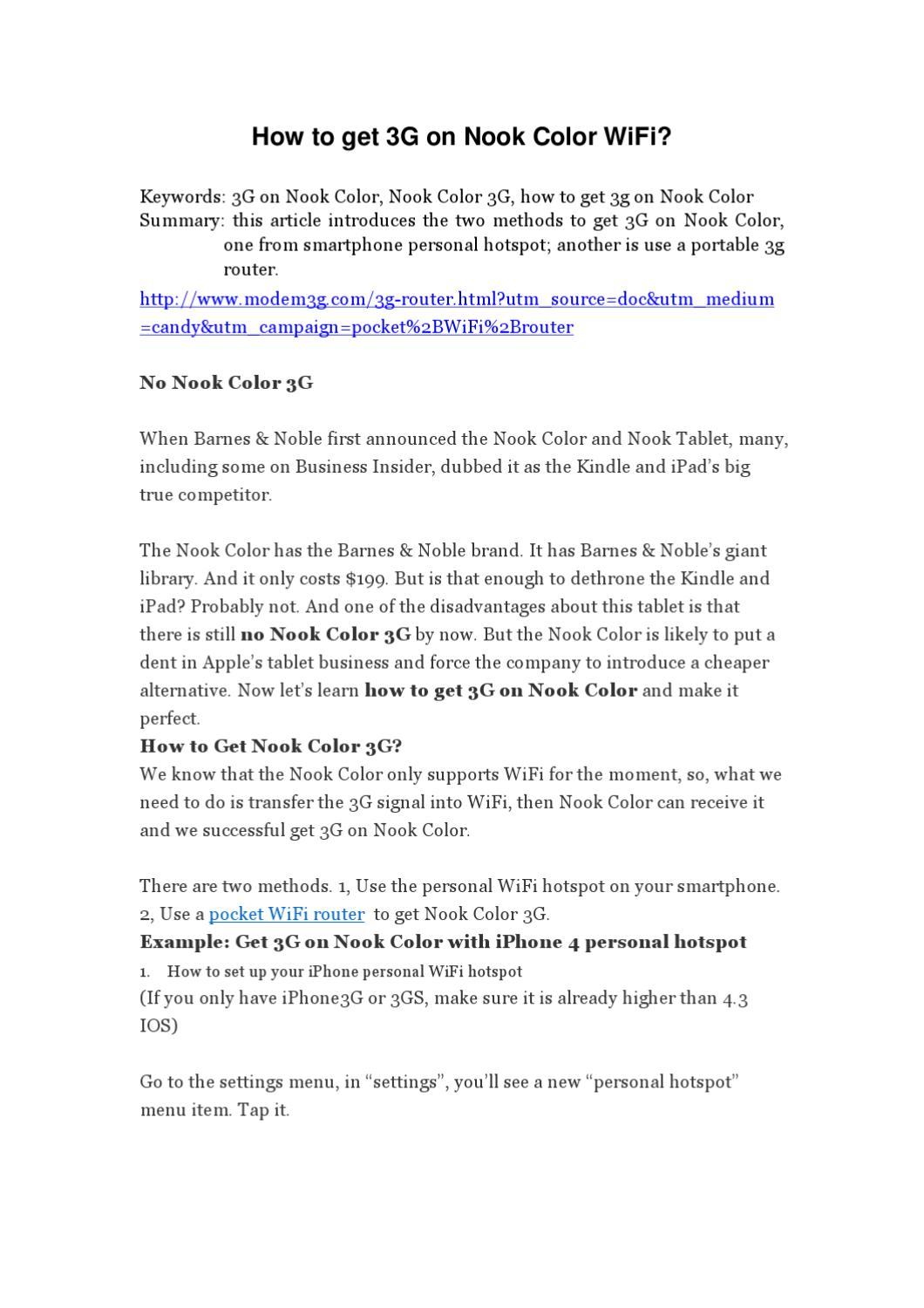 How to get 3G on Nook Color WiFi? by candy yang - issuu