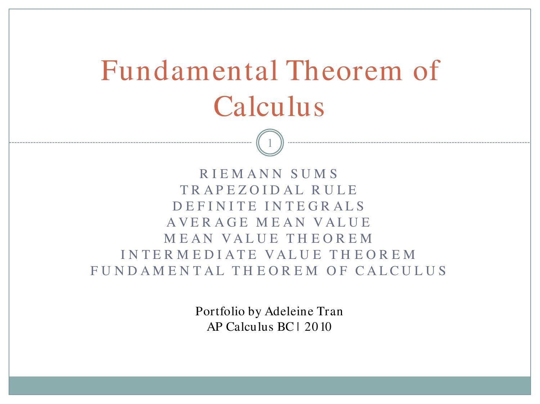 Fundamental Theorem of Calculus by Adeleine Tran - issuu