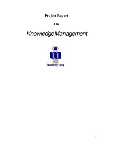 Project Report On Knowledge Management By Sanjay Gupta  Issuu