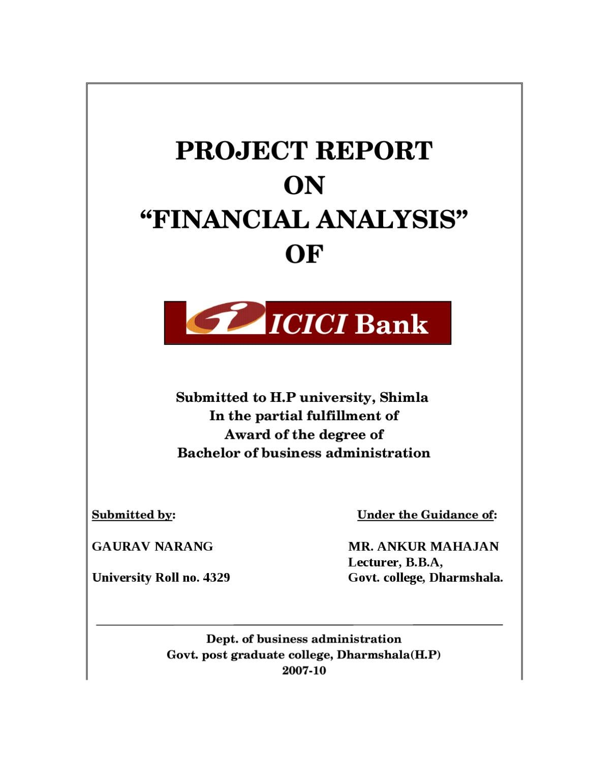 project report on financial analysis of icici bank by sanjay gupta