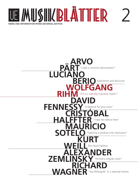Musikblätter Edition 2 2011 by Universal Edition - issuu
