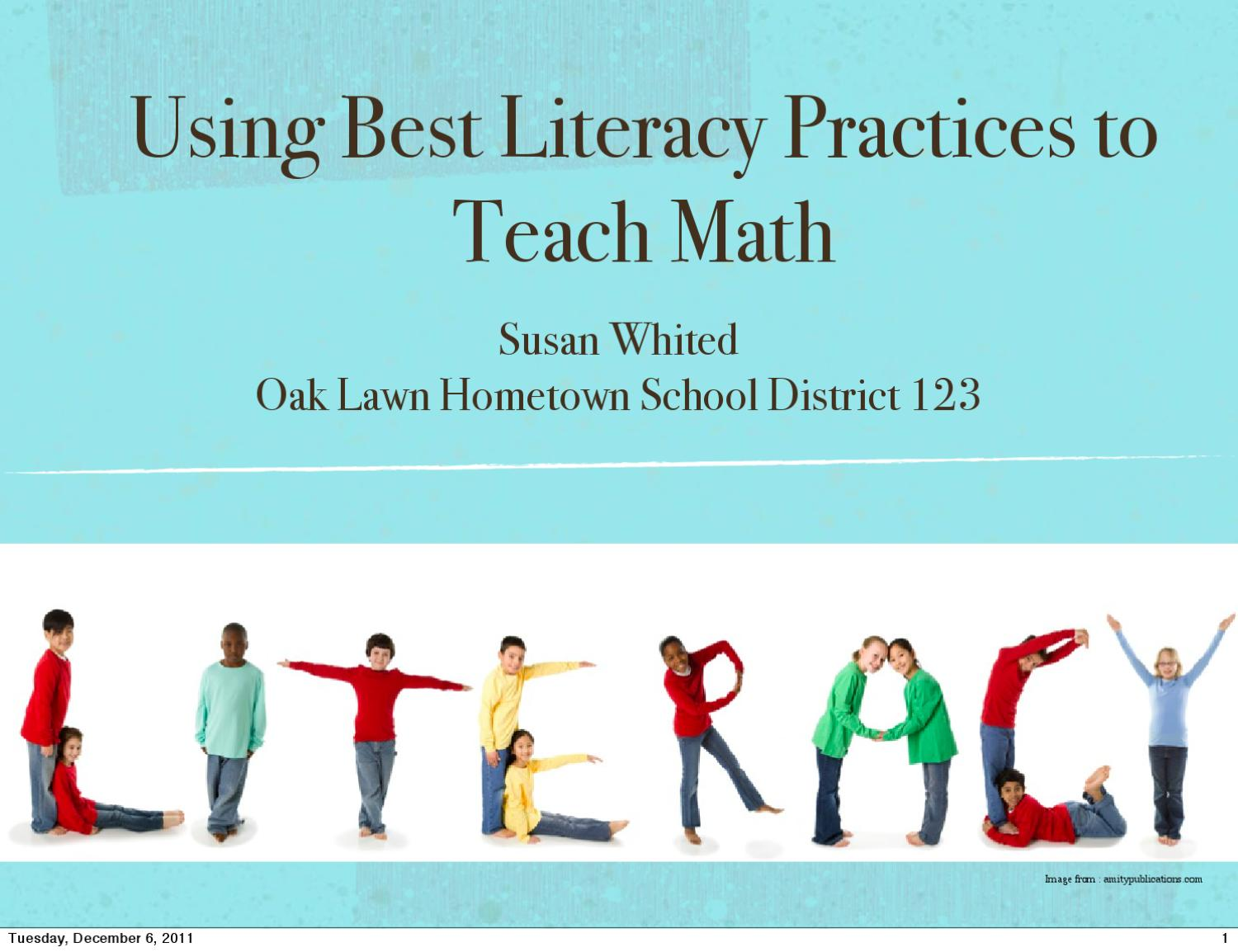 Using Best Literacy Practices to Teach Math by Susan Whited - issuu