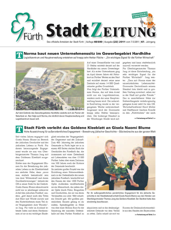 StadtZeitung, Nr. 22, vom 7. Dezember 2011 by Christian Scharvogel ...