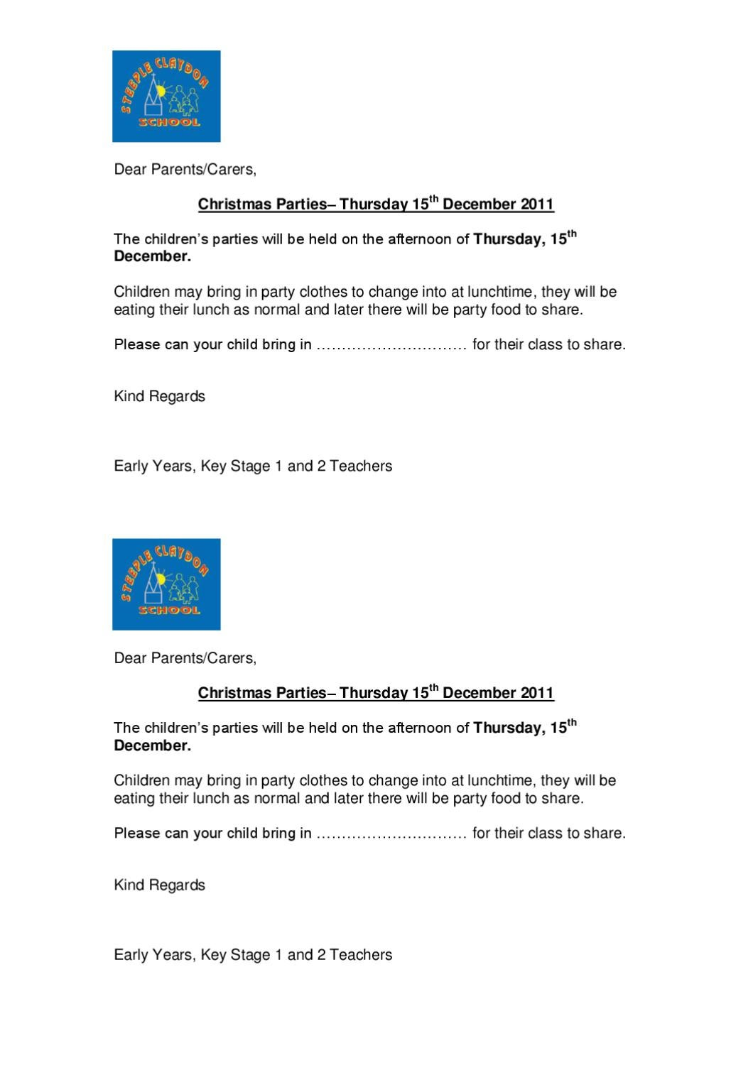 Christmas Party Letter By Steeple Claydon Combined School Issuu