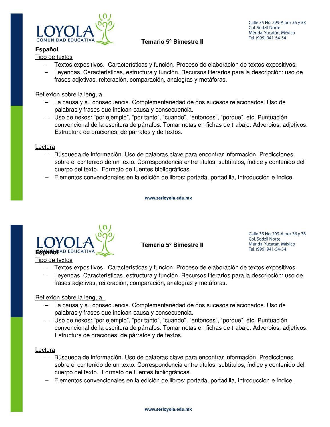 Temario Español 5° Bim II by Loyola Comunidad Educativa - issuu