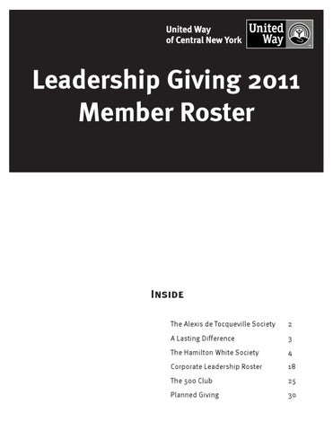 2011 Leadership Giving Roster by Daniel Lovell - issuu