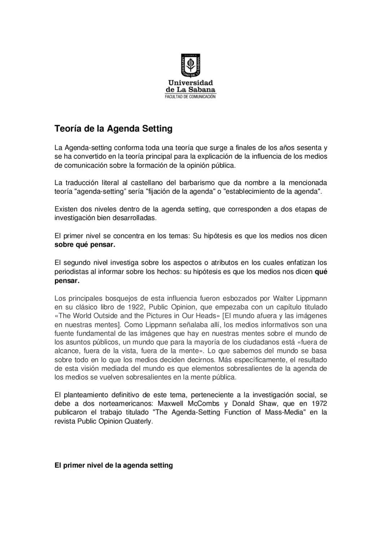 Teoría de la Agenda Setting by Ágora Ambiental - issuu