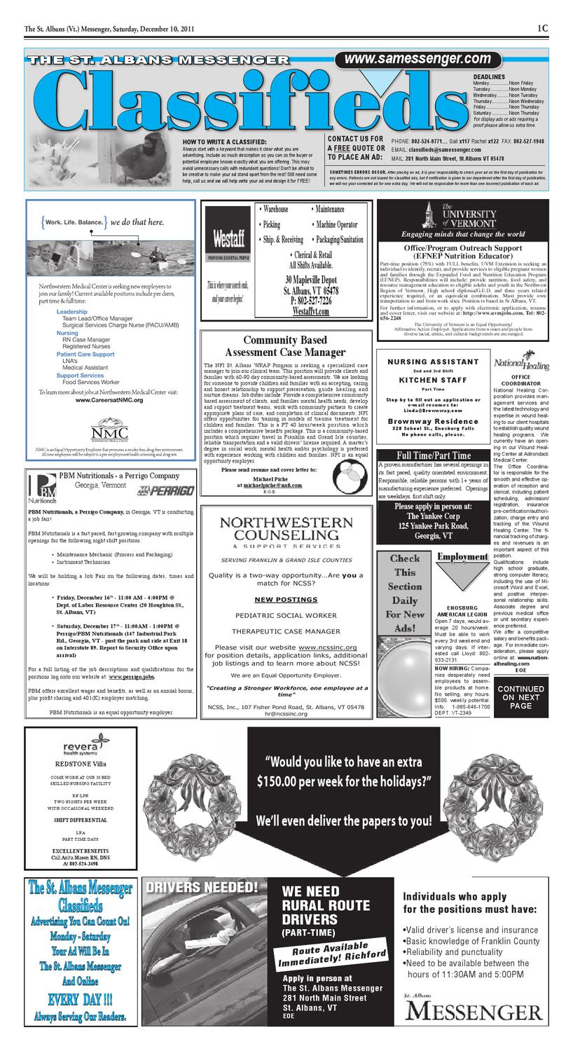 12/10/11 Classifieds by St  Albans Messenger - issuu