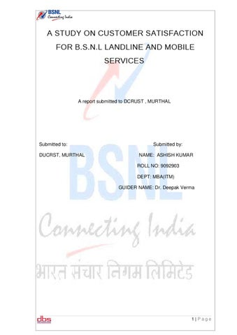 A study on customer satisfaction for bsnl landline and mobile a study on customer satisfaction for bsnl landline and mobile services spiritdancerdesigns Images
