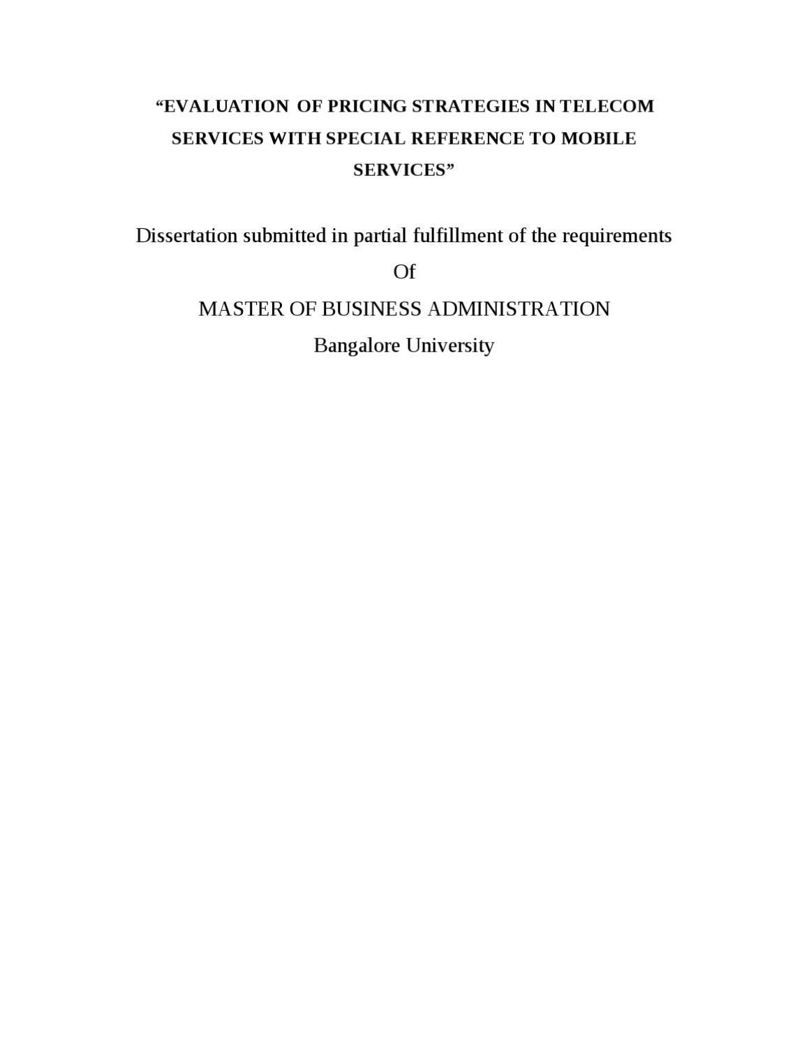 Dissertation report on telecommunication