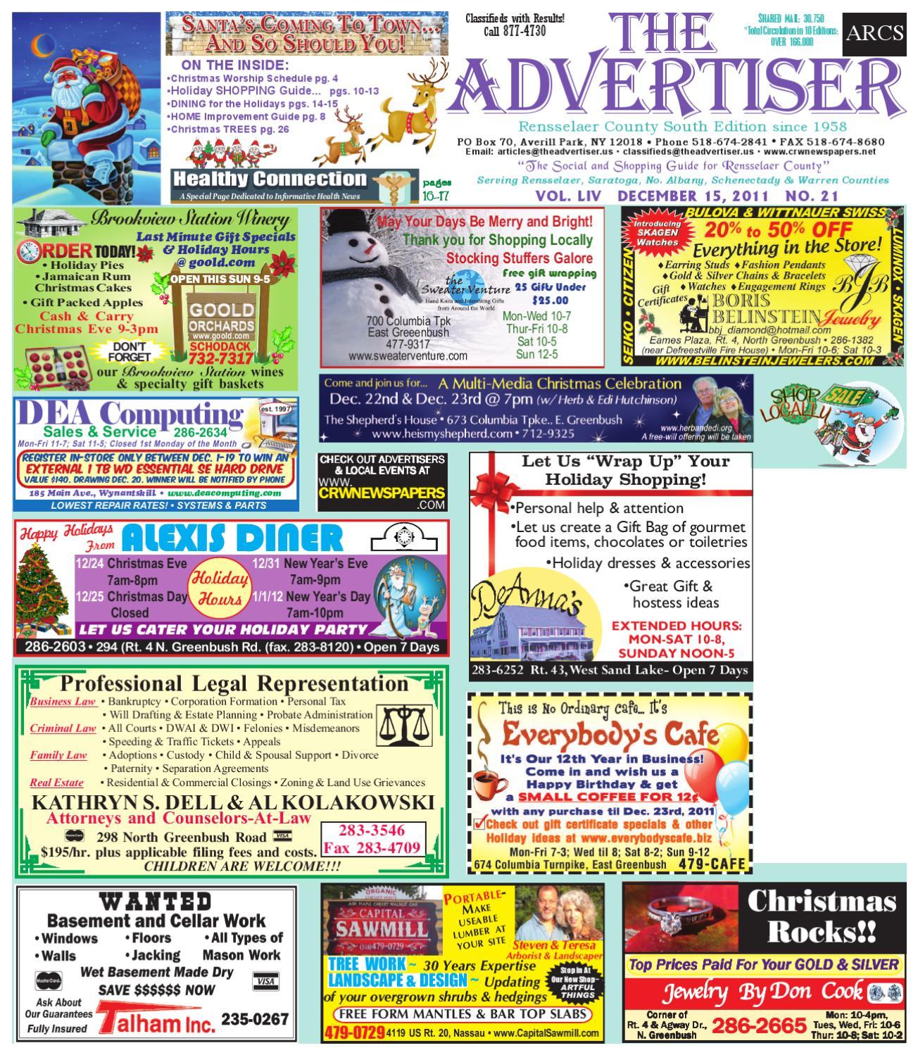 21958db27f0 Advertiser South 121511 by Capital Region Weekly Newspapers - issuu