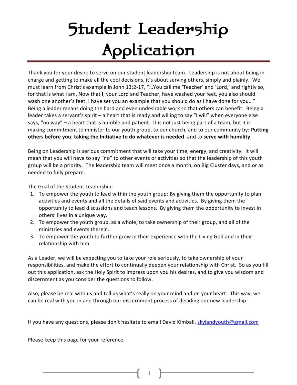 Essay for leadership application