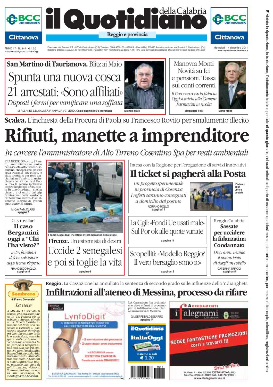 Il Quotidiano Della Calabria 14 12 2011 By Ggiornalista Giornalaio Issuu