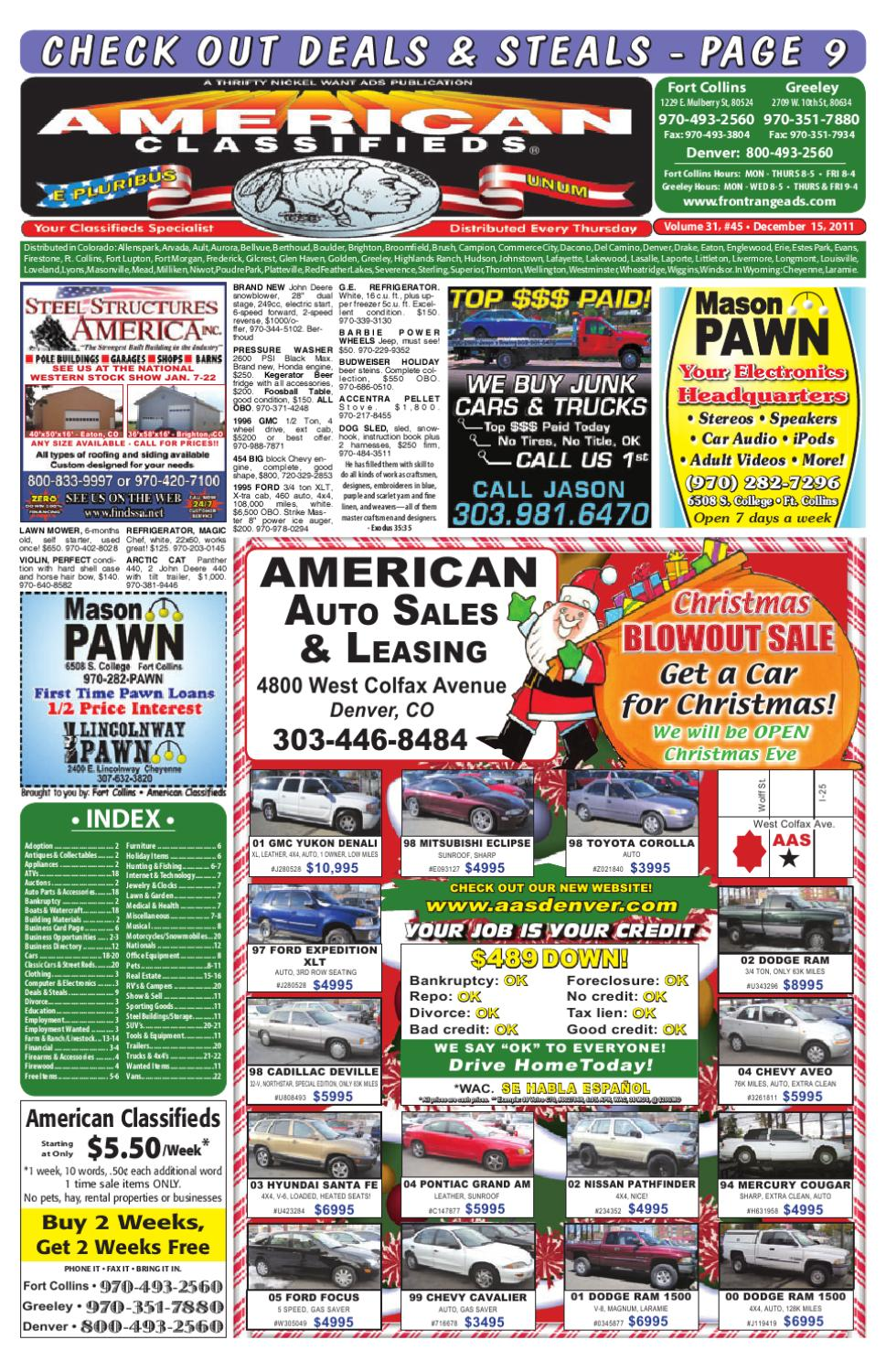 FR American Classifieds 12-15-11 by Thrifty Nickel of
