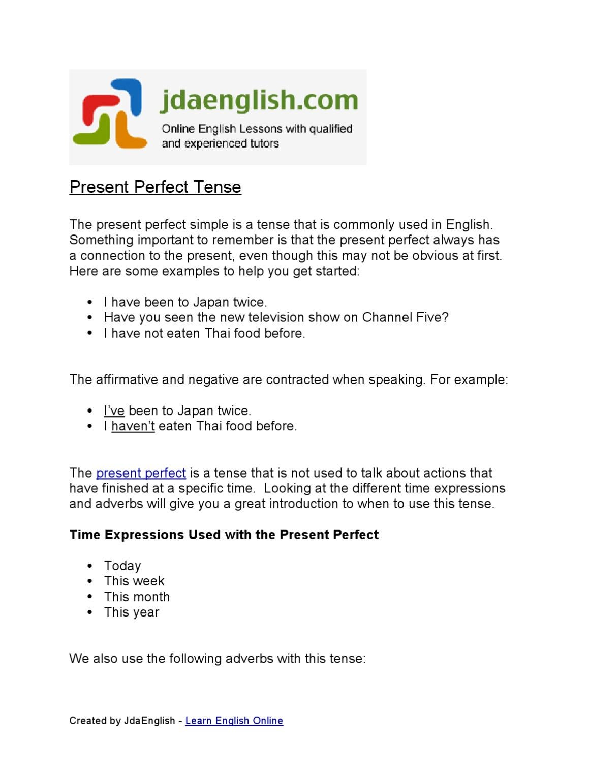 Present Perfect Tense By Jack Askew Issuu