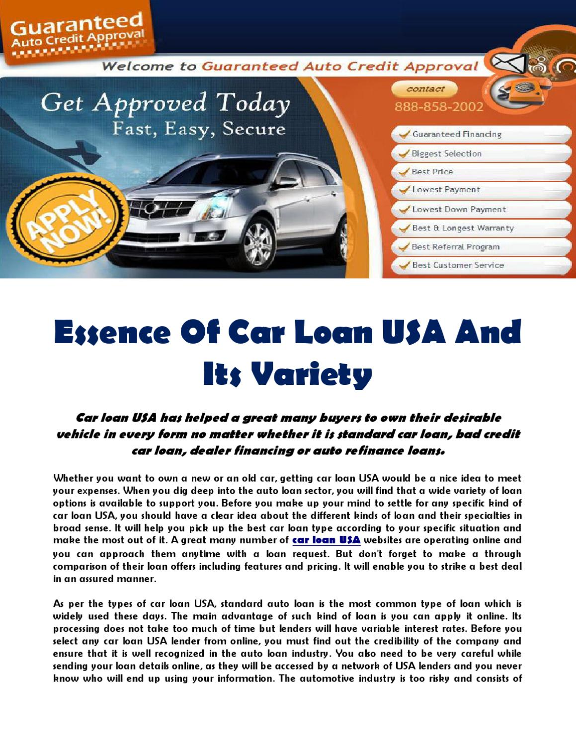 Bad Credit Auto Refinance >> Essence Of Car Loan Usa And Its Variety By Guaranteed Auto