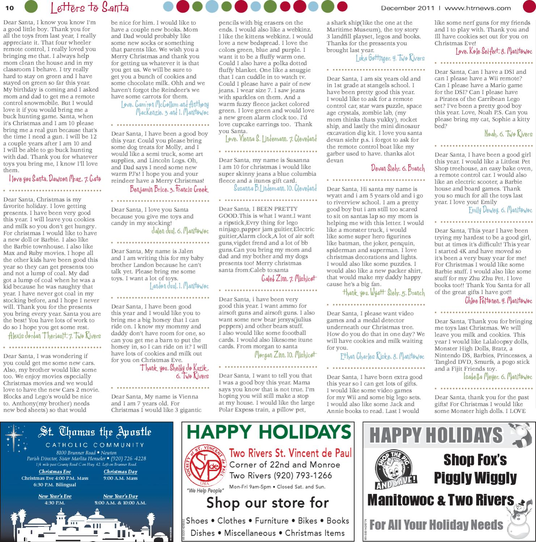 Manitowoc letters to santa 2011 by gannett wisconsin media issuu spiritdancerdesigns Gallery