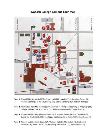 Wabash College Campus Map.Wabash College Campus Tour Guidebook By Wabash College Issuu