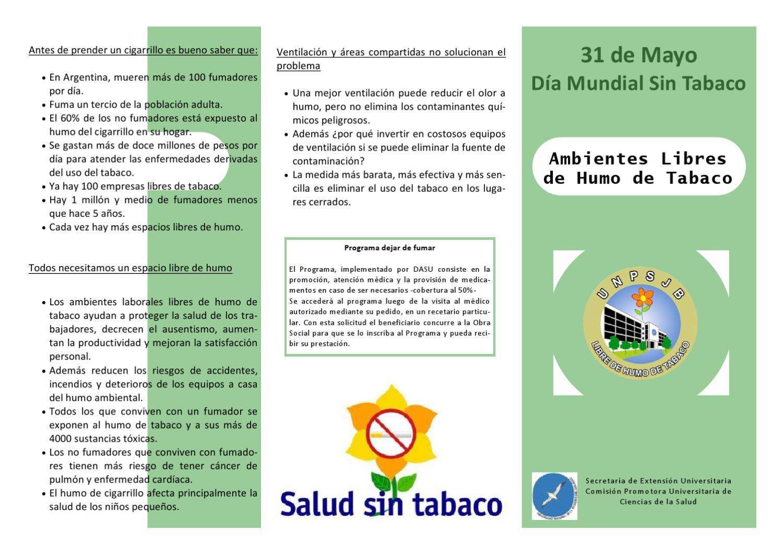 Triptico d a mundial sin tabaco by beatriz escudero issuu - Como eliminar el humo del tabaco en una habitacion ...