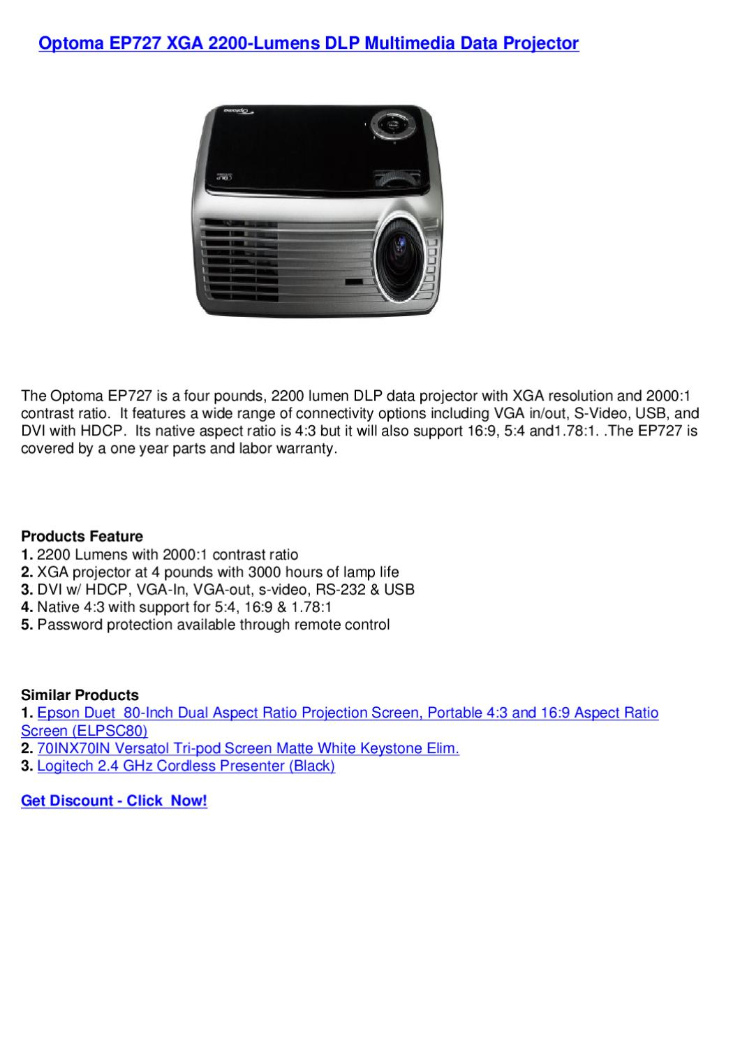 Optoma EP727 XGA 2200-Lumens DLP Multimedia Data Projector