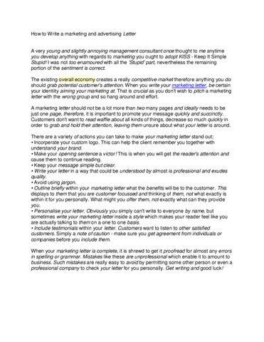 Marketing Letter By Jesus Balao Issuu