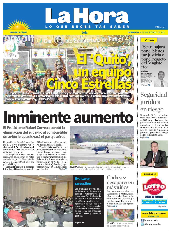 Diario La Hora Loja 18 de Diciembre 2011 by Diario La Hora Ecuador ...