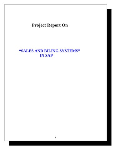 project report on sales and billing systems in sap by