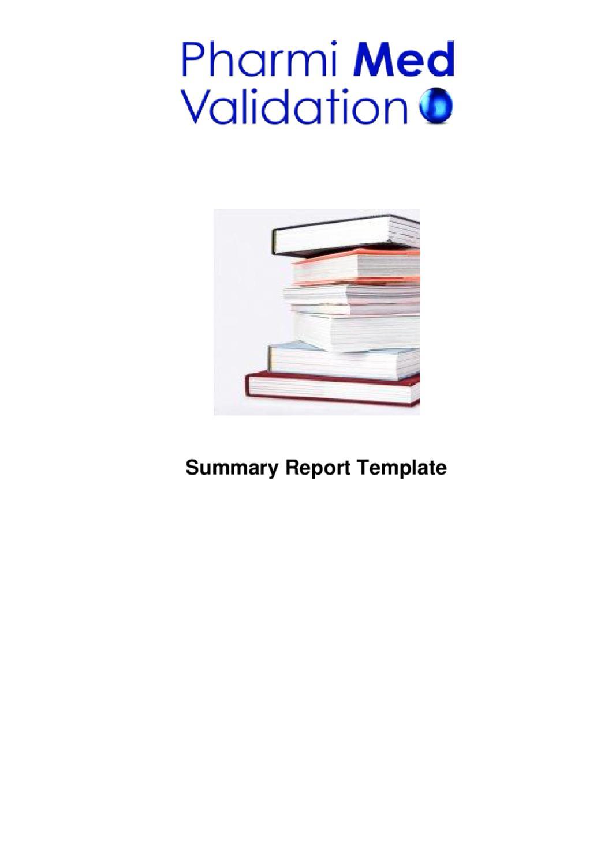 Summary Report Template Sample By Pharmi Med Ltd Issuu