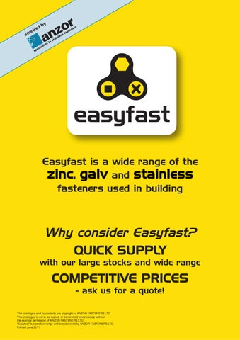 Easyfast Catalogue by Anzor Fasteners Ltd - issuu