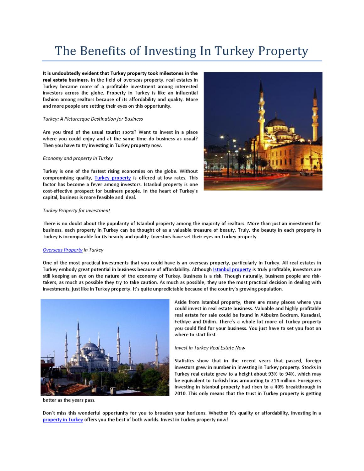 The Benefits Of Investing In Turkey Property By Charlene Mcgee Issuu