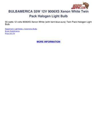 BULBAMERICA 55W 12V 9006XS Xenon White Twin Pack Halogen Light Bulb 55 Watts 12 Volts With Faint Blue Aura