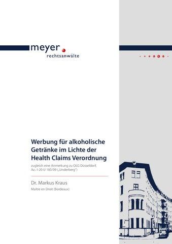 Werbung für alkoholische Getränke im Lichte der Health Claims ...