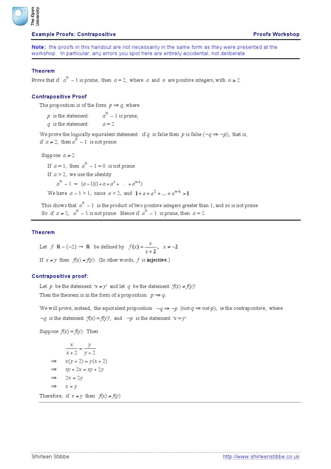 Example Proofs Contrapositive By Shirleen Stibbe Issuu