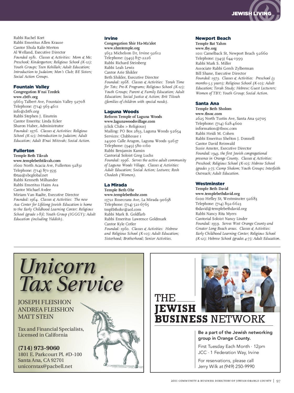 2011 Community & Business Directory of Jewish Orange County