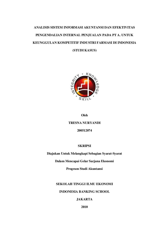Analisis Sistem Informasi Akuntansi Dengan Efektivitas Pengendalian Internal By Tresna Nuryandi Issuu