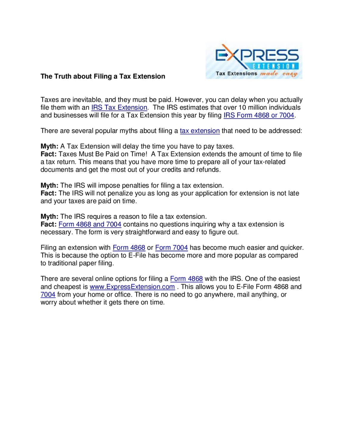 The Truth About Filing A Tax Extension By Express Tax Extension Issuu