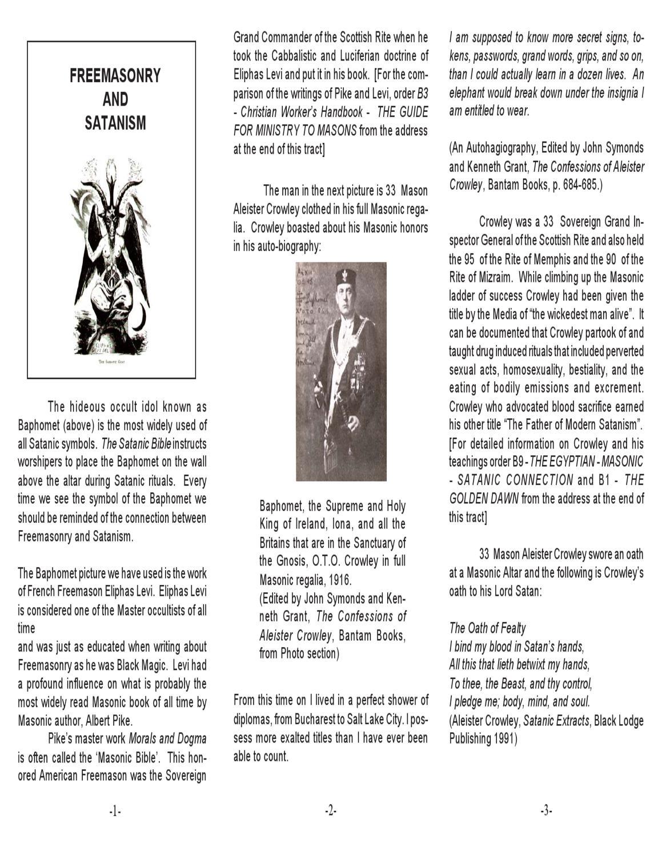 Freemasonry And Satanism Tract By Books Docs Plus Issuu