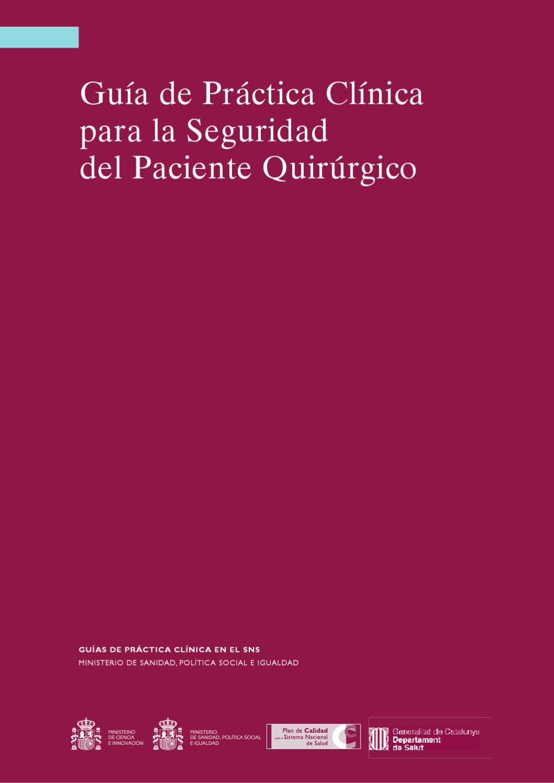 Guía de Práctica Clínica para la Seguridad del Paciente Quirúrgico ...