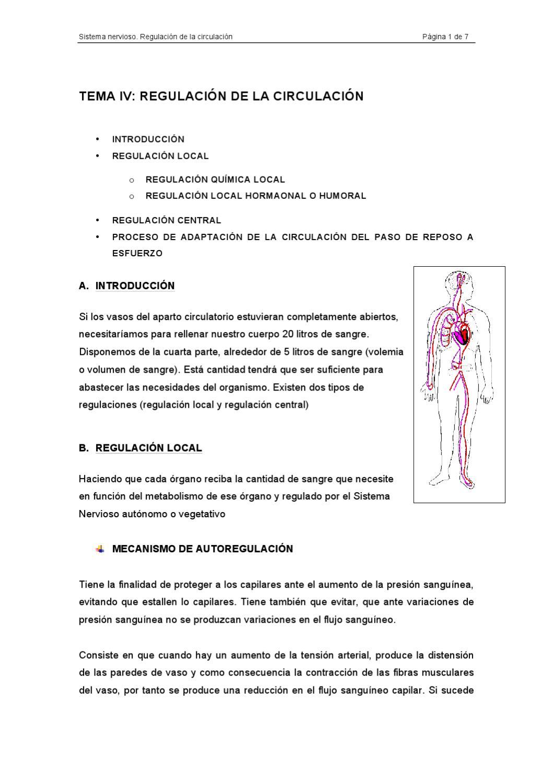 Regulación de la presión arterial por el sistema cardiovascular