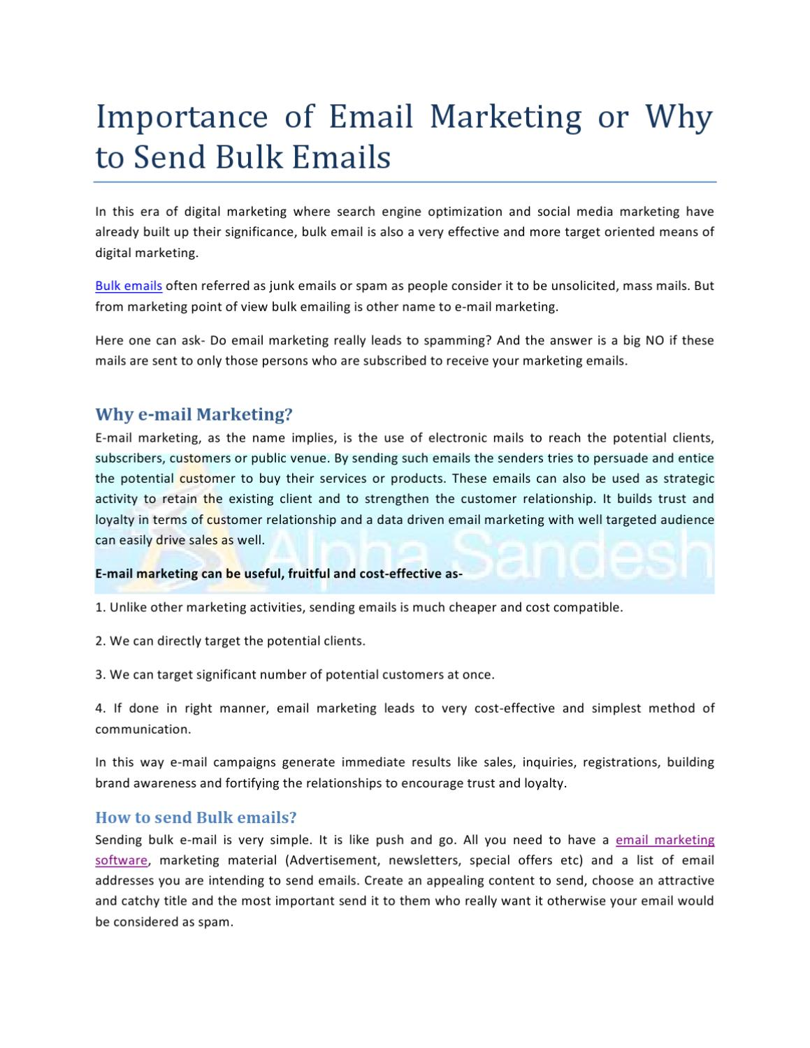 Importance of Email Marketing by Alpha Sandesh - issuu