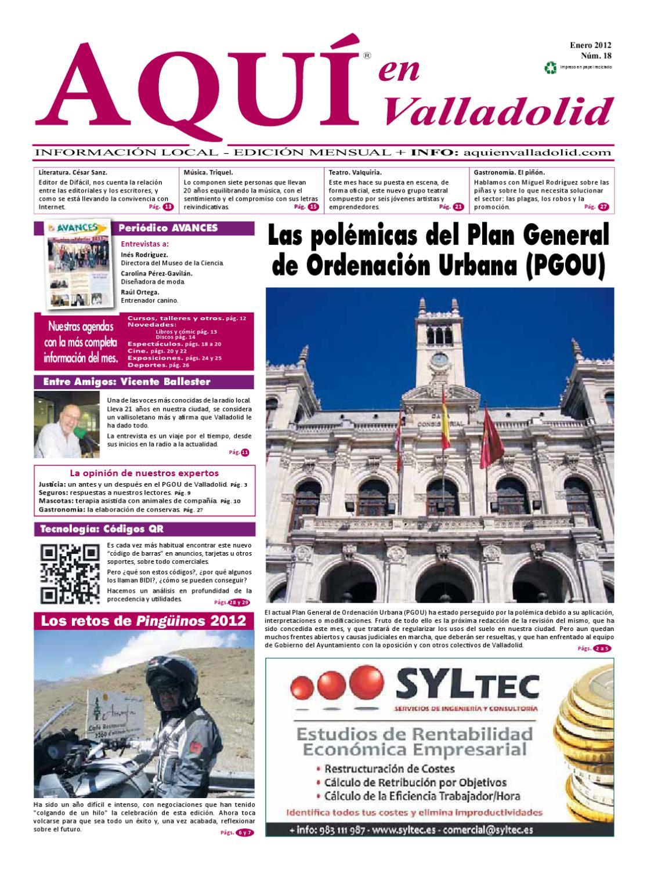 Aquí en Valladolid - Nº18 enero 2012 by Eiconet, servicios y soluciones web  - issuu