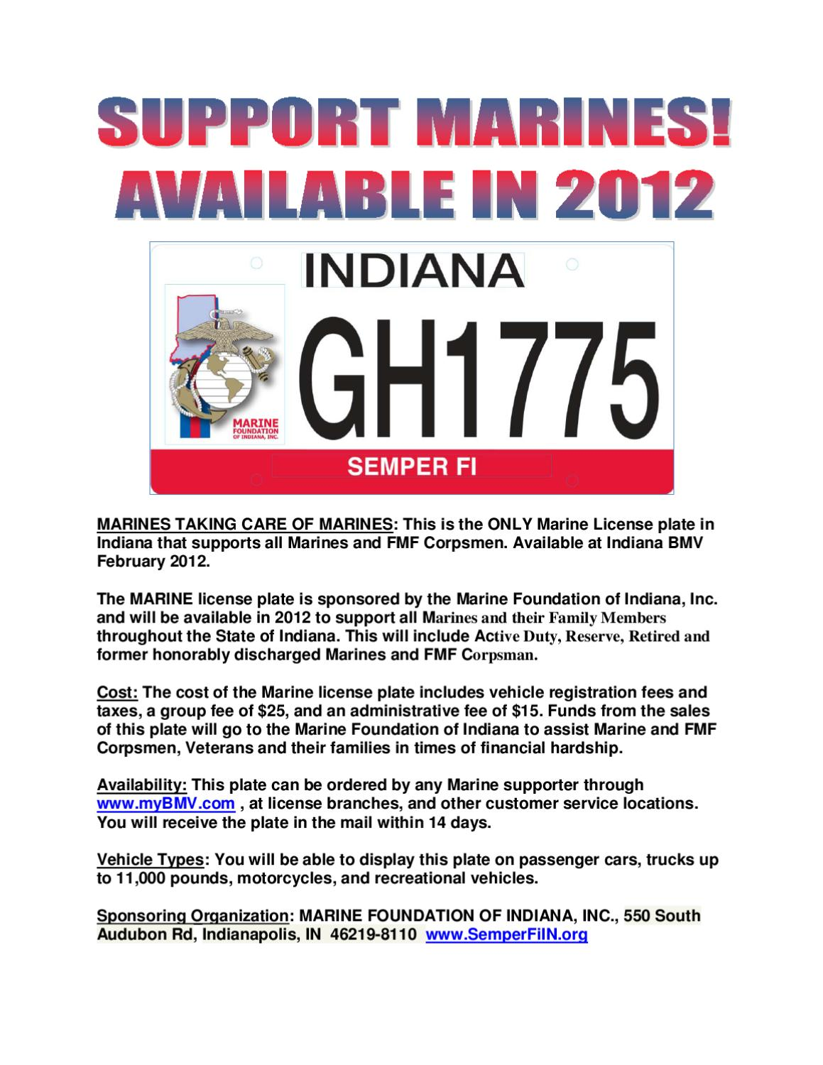 2012 Marine License Plate Indiana By Russ Eaglin