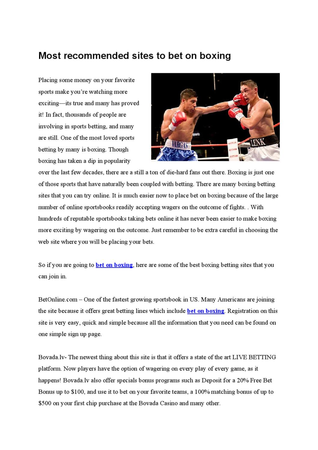 Boxing Online Betting Website