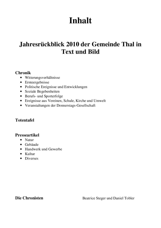 Thaler Chronik 2010 by Donnerstags-Gesellschaft Thal - issuu