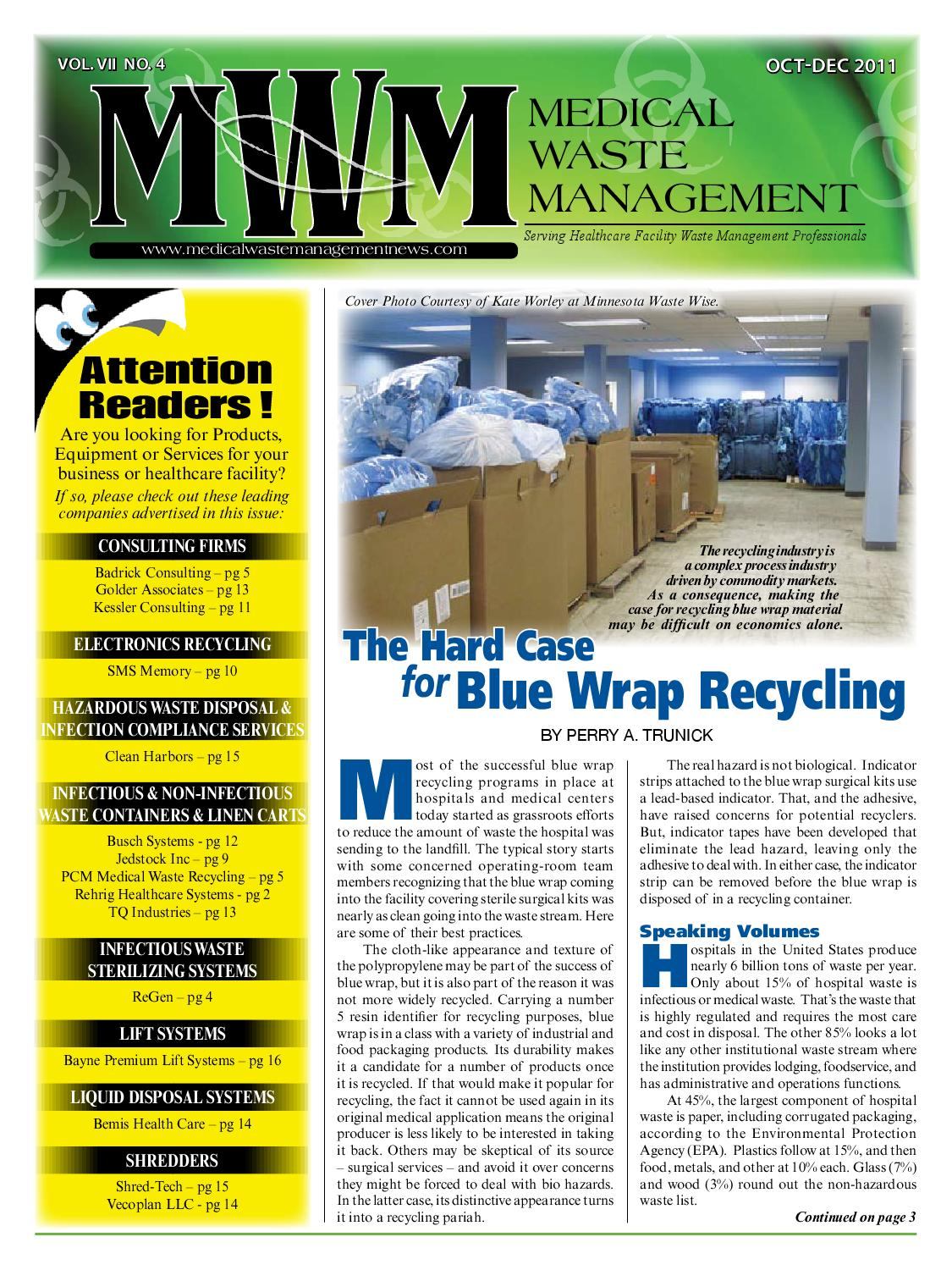 0137edb76103 Medical Waste Management 4th Quarter 2011 by Downing and Associates ...