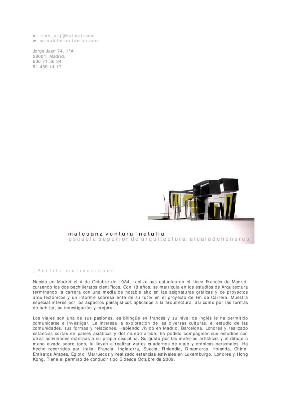 C v natalia matesanz ventura by natalia mv issuu Asignaturas de la carrera de arquitectura