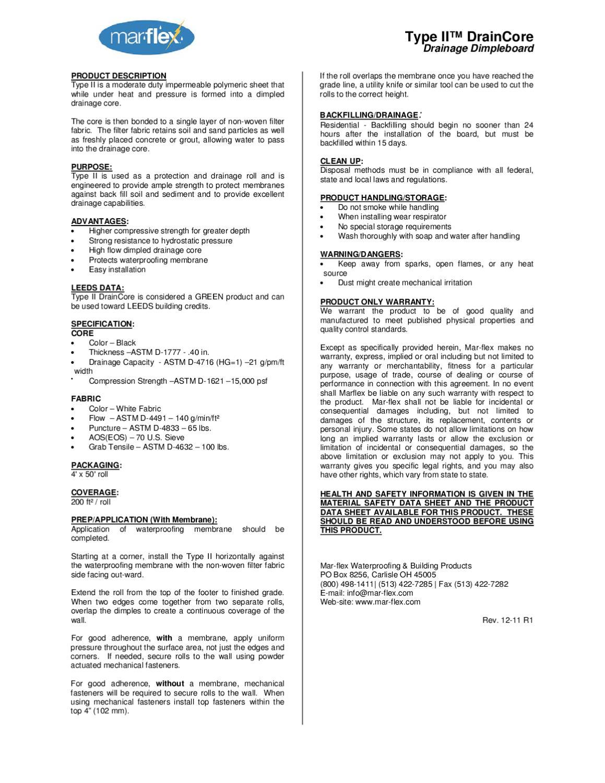 SPEC - Type II - 10 Part by Mar-flex Waterproofing & Building