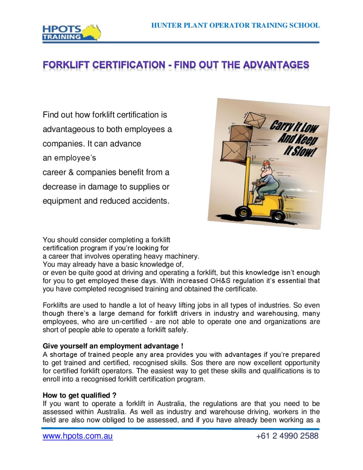 Forklift Certification Find Out The Advantages By Daniel Frater