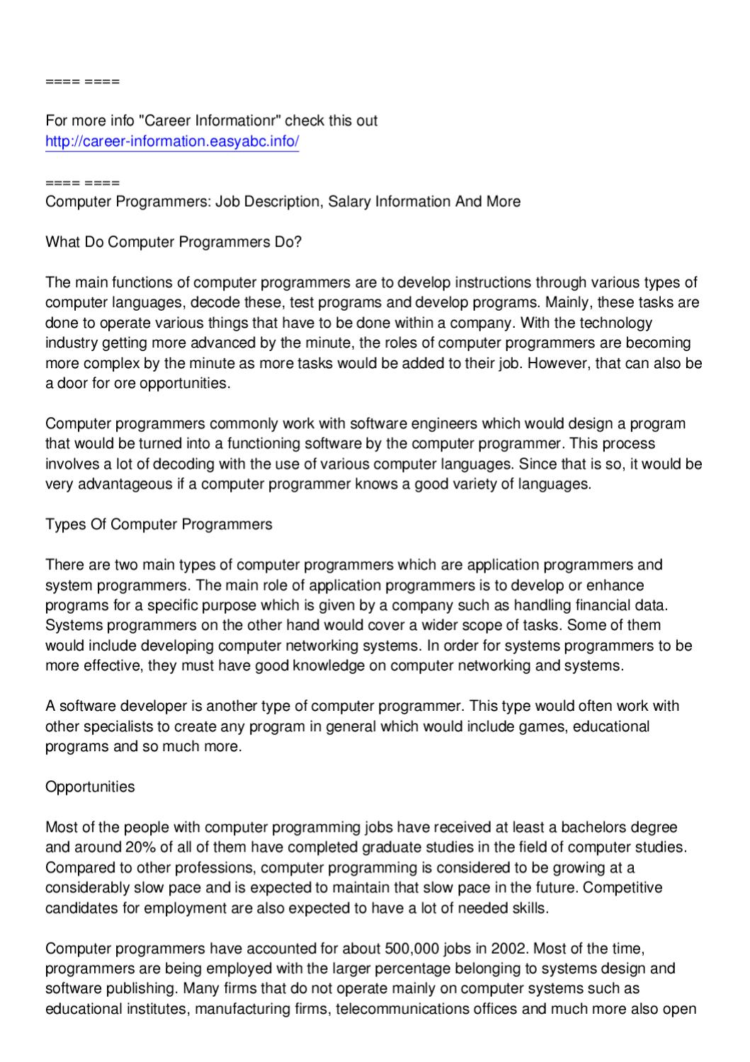 exceptionnel Computer Programmers: Job Description, Salary Information And More by Kevin  Rossignol - issuu
