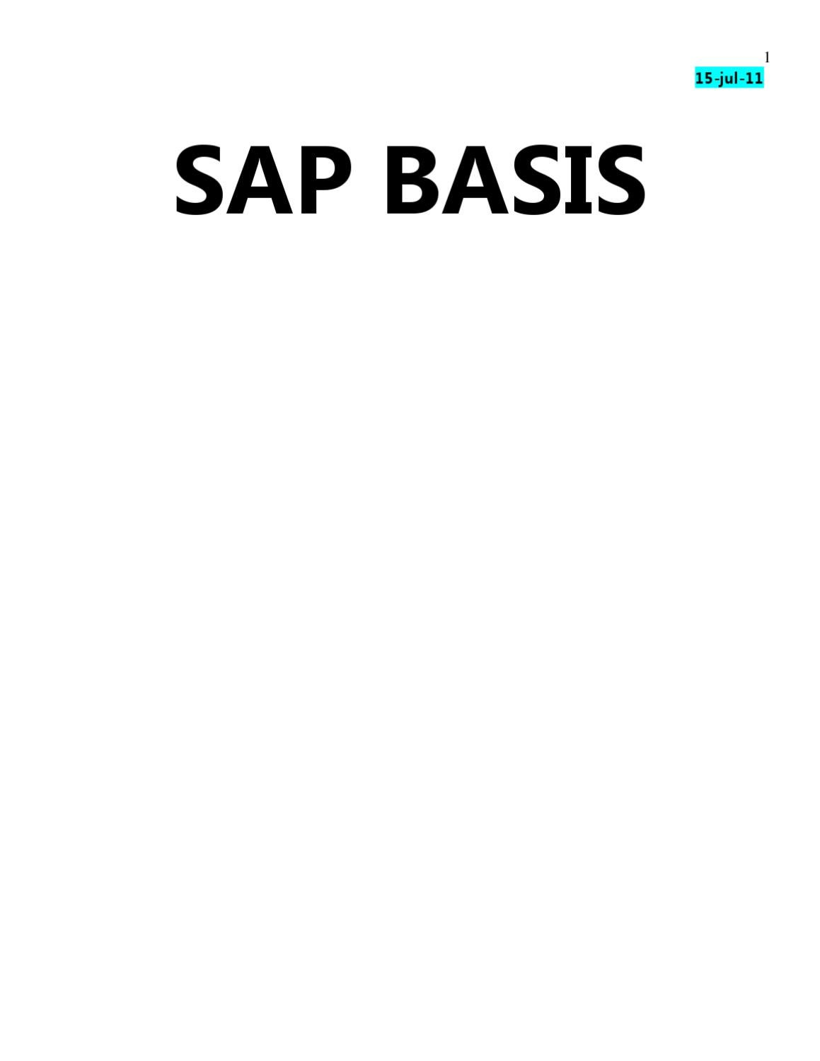 SAP Basis Ebook: Beginner's Training | www sapdocs info by